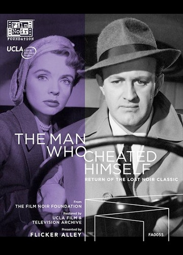 blu-ray disc cover art for classic noir film The Man Who Cheated Himself featuring Jane Wyatt and Lee J. Cobb