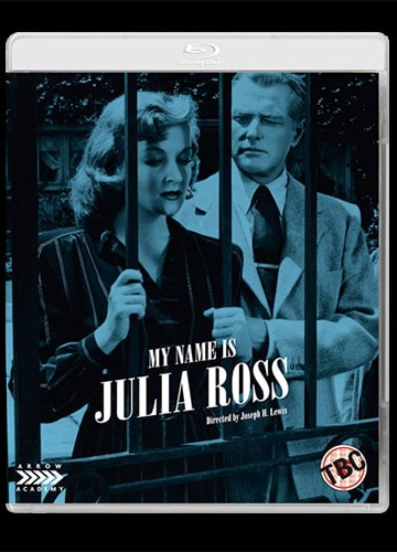 Blu-ray cover art featuring stylized Nina Foch and George Macready behind bars