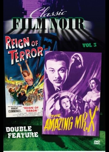 DVD cover poster art for classic film noir double feature vol 3 reign of terror and amazing mister x