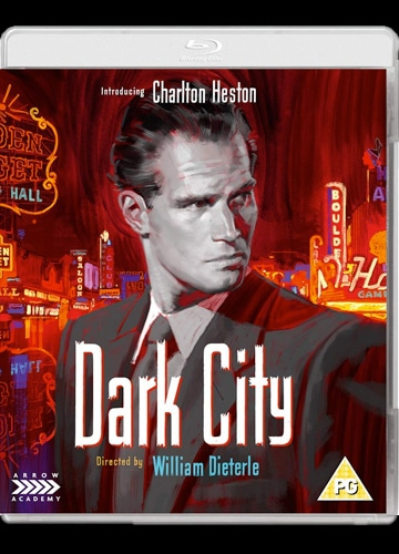 illustrated blu-ray cover art for dark city featuring charlton heston