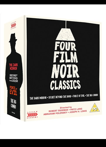 illustrated Blu-ray disc cover art four film noir classics the dark mirror secret beyond the door force of evil the big combo