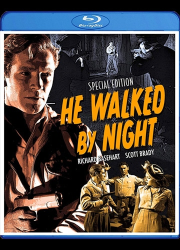 illustrated and photo collage Blu-ray cover art for he walked by night featuring richard basehart with a gun